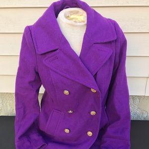 Old Navy Women Sz Small Wool Purple Peacoat